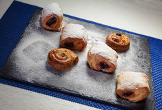 Sweet Butter Croissant on Black Ceramic Plate Stock Photos