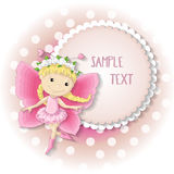 Sweet butterfly girl in a pink dress. Vector illustration with place for text Royalty Free Stock Image