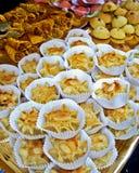 Sweet cake. Fresh sweet cake on tray on open market en Barcelona, Spain Royalty Free Stock Photos