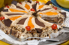Sweet cake. Picture of a sweet fruit cake with chocolate cream Royalty Free Stock Photography