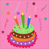 Sweet cake with candle Stock Images