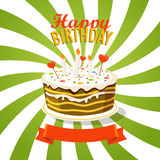 Sweet cake with candles. Greeting card Royalty Free Stock Photo