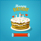 Sweet cake with candles. Greeting card. Sweet cake with candles. Vector greeting card Stock Images