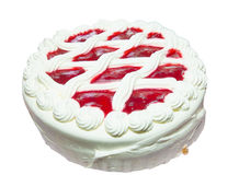 Sweet cake with chantilly. Dessert with strawberry gelly isolated in white background Royalty Free Stock Image