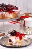 Sweet cake with cherry jelly, tasty and fresh. Antique dishes royalty free stock image