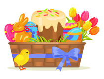 Sweet Cake, Chocolate Bunny, Color Eggs on Easter. Sweet cake, chocolate bunny, color eggs, yellow chicken on easter. Vector illustration of baked goody, bouquet Stock Photos