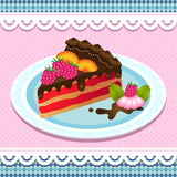 Sweet  cake with chocolate Stock Images