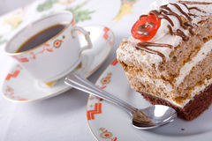 Sweet cake and coffee Royalty Free Stock Photo