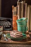Sweet cake and coffee on desk writer Royalty Free Stock Photography