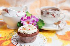 Sweet cake with cup of tea Stock Photos