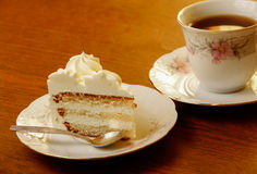 Sweet cake with cup of tea Royalty Free Stock Image