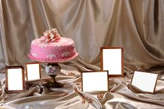 Sweet cake decorated with fondant on the plate.  stock images