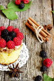 Sweet cake decorated with forest fruits Royalty Free Stock Image