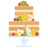 Sweet cake decorated with fresh fruits and berries, pastel colors on white background, Cake Stand. Card design - Birthday, valent Stock Photos