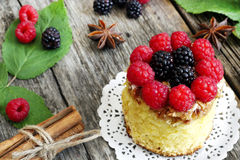 Sweet cake with forest fruits. Sweet cake with blackberries and raspberries Royalty Free Stock Photos