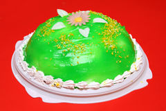 Sweet cake with green jelly Royalty Free Stock Photo