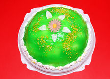 Sweet cake with green jelly Stock Photography