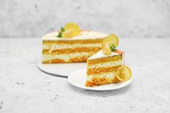Sweet cake with orange background food lemon Royalty Free Stock Images