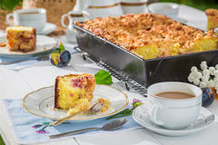 Sweet cake with plum served with coffee in the garden Royalty Free Stock Photos
