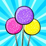 Sweet cake pops in pop stock illustration