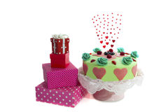 Sweet cake with presents Royalty Free Stock Photos