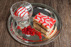 Sweet cake with red and white cream Royalty Free Stock Photo