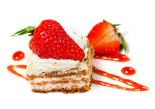 Sweet cake with strawberry Royalty Free Stock Photos