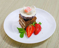 Sweet cake with strawberry Royalty Free Stock Photography