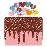 Sweet cake, strawberry pink cream chocolate icing sprinkles Royalty Free Stock Image