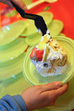 Sweet cake with whipped cream and fresh fruit during the childre Royalty Free Stock Images