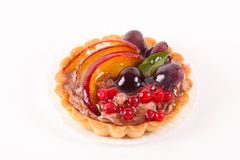 Sweet Cake With Fruits Isolated On White Stock Photos