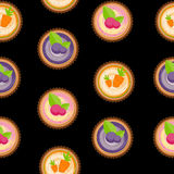 Sweet Cakes with Berry and Carrot Seamless Pattern Background. Vector Illustration Stock Photography