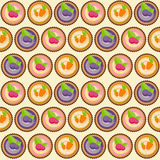 Sweet Cakes with Berry and Carrot Seamless Pattern Background Stock Photo