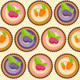 Sweet Cakes with Berry and Carrot Seamless Pattern Background Stock Photos