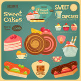 Sweet Cakes Card. Cover Cafe Menu. Vector Illustration Stock Photos