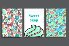Sweet cakes card set. Vector illustration. Royalty Free Stock Image