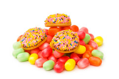 Sweet cakes and colourful gum Royalty Free Stock Images