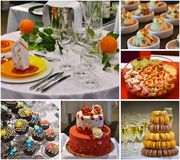 Sweet cakes and desserts, wedding party food collage, catering. Catering food assortment, sweet cakes and desserts, wedding party, food collage stock photography