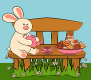 Sweet cakes and rabbit. Royalty Free Stock Image