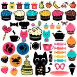 Sweet cakes set. Sweet cakes and food elements set royalty free illustration
