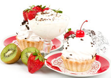Sweet cakes with strawberry and cherry Royalty Free Stock Image