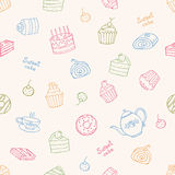 Sweet cakes and tea. Sweet cakes and tea seamless vector pattern Royalty Free Stock Photo