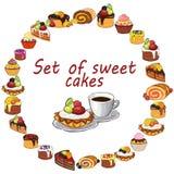Sweet cakes on white background. Stock Image