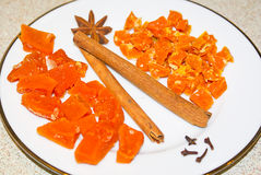 Sweet Candied Cumpkin with Cinnamon Stock Images