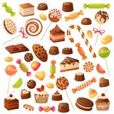 Sweet candies. Candy bonbon lollipop, marmalade and fruit candied. Chocolate and marshmallow, kids holiday desserts flat