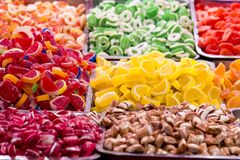 Sweet candies. Closeup detail of the colorful sweet candies stock photography