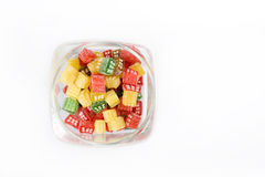 sweet candies in sugar in a glass jar Stock Photos