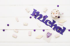 Sweet candies on white wooden table Royalty Free Stock Photography