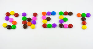 Sweet Candy. Colorful candy forming the word Sweet royalty free stock image