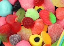 Colorful Candy. Close up of different, mostly red fruit shaped, candy royalty free stock photos